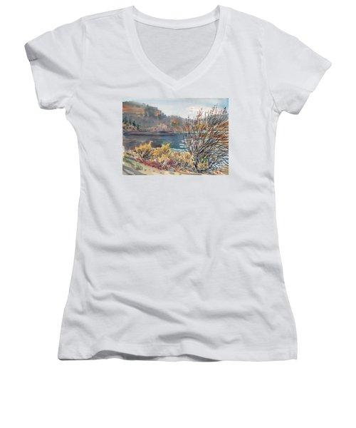 Lake Roosevelt Women's V-Neck T-Shirt (Junior Cut) by Donald Maier