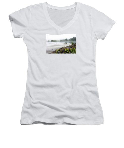 Lake Superior Women's V-Neck T-Shirt (Junior Cut) by Ed Hall