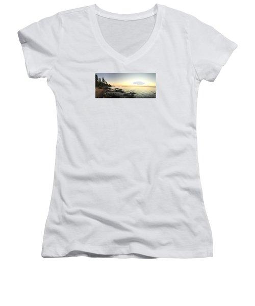 Lake Superior Evening Sky Women's V-Neck T-Shirt (Junior Cut) by Paula Brown