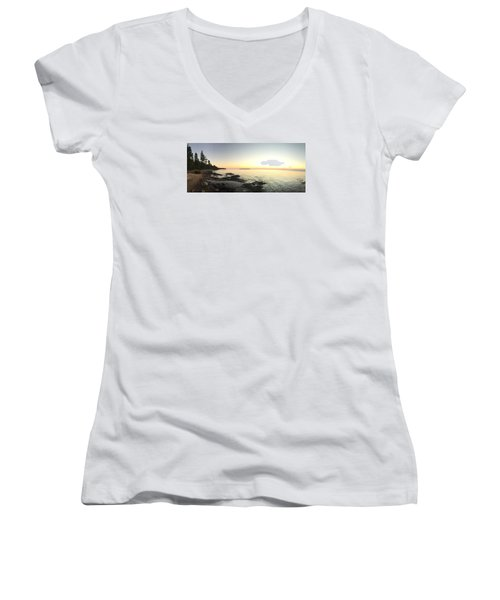 Lake Superior Evening Sky Women's V-Neck T-Shirt