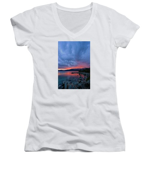 Lake Tahoe Sunset Portrait 2 Women's V-Neck T-Shirt