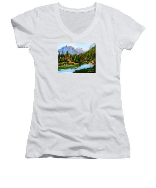 Lakeside Cabin Women's V-Neck T-Shirt