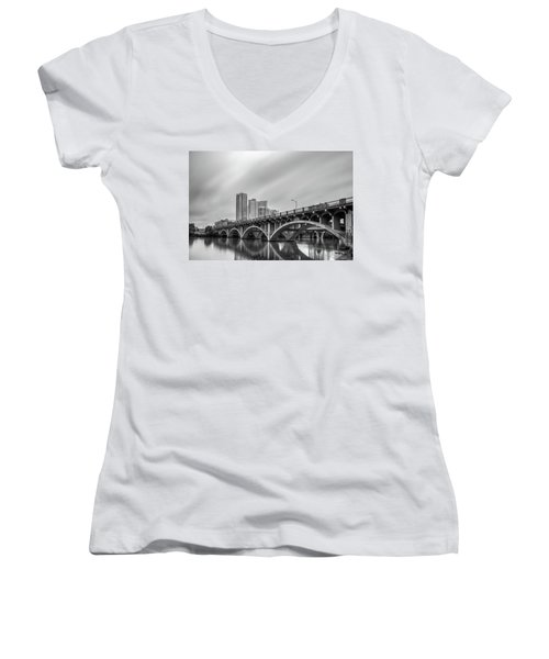 Lamar Bridge In Austin, Texas Women's V-Neck T-Shirt