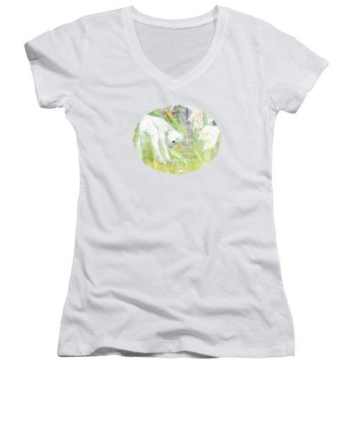 Lamb And Lilies - Verse Women's V-Neck T-Shirt (Junior Cut) by Anita Faye