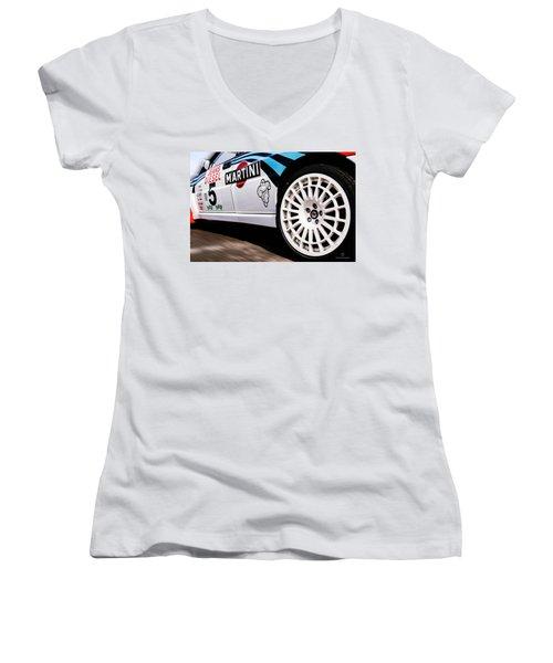 Lancia Delta Hf Integrale Women's V-Neck T-Shirt (Junior Cut) by Cesare Bargiggia