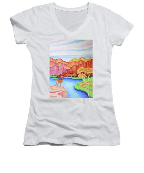 Land Of Enchantment Women's V-Neck T-Shirt (Junior Cut) by Tracy Dennison