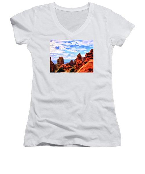 Land Of Moab - Watercolor Women's V-Neck