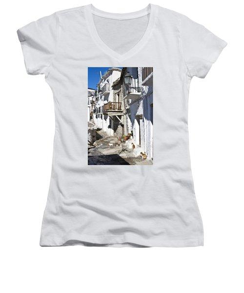 Women's V-Neck T-Shirt (Junior Cut) featuring the photograph Street In Capileira Puebla Blanca by Heiko Koehrer-Wagner
