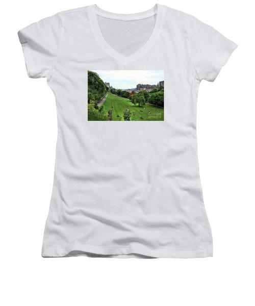 Landscape Edinburgh  Women's V-Neck T-Shirt (Junior Cut) by Chuck Kuhn