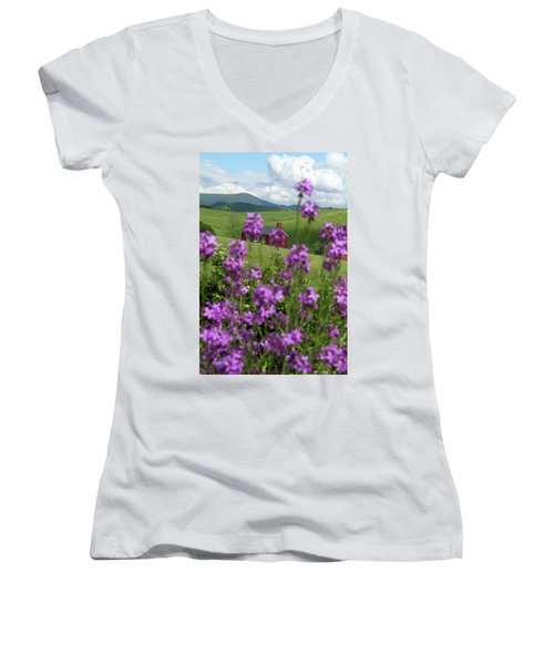 Landscape With Purple Flowers In Virginia Women's V-Neck T-Shirt (Junior Cut) by Emanuel Tanjala