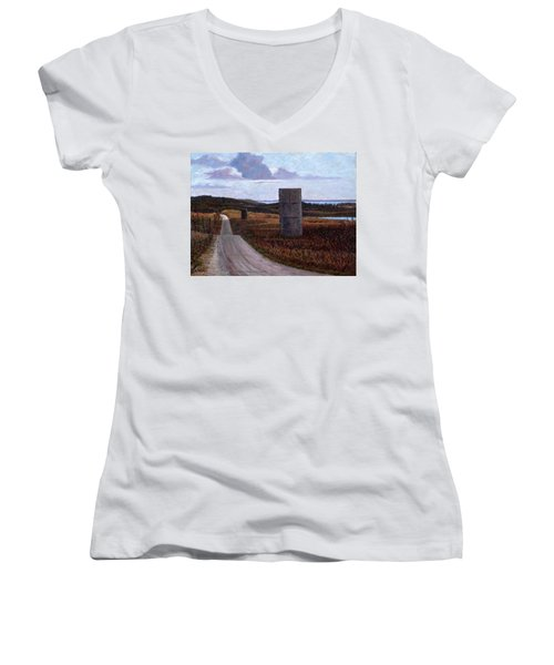 Landscape With Silos Women's V-Neck (Athletic Fit)