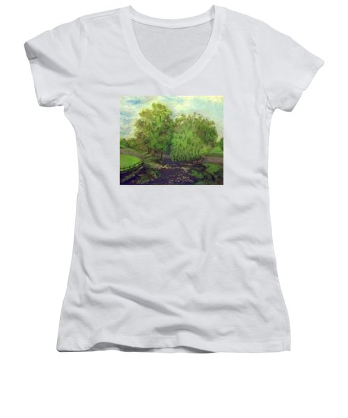 Landscape With Trees Women's V-Neck (Athletic Fit)