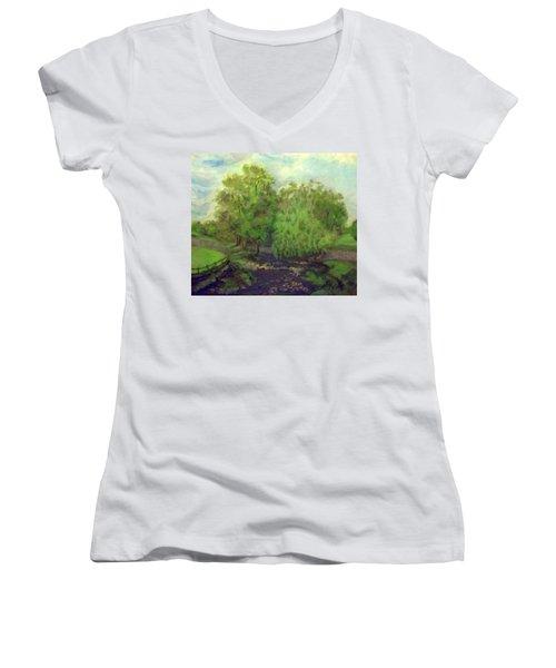 Landscape With Trees Women's V-Neck T-Shirt