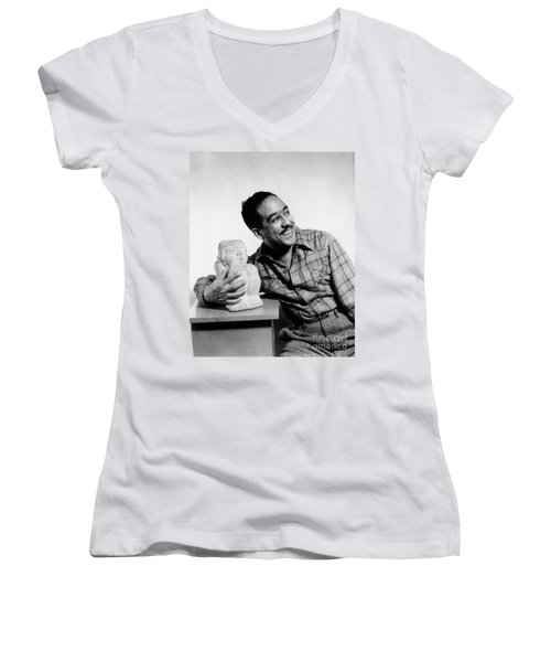 Langston Hughes (1902-1967) Women's V-Neck T-Shirt