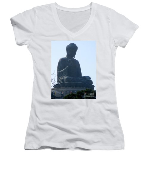 Women's V-Neck T-Shirt (Junior Cut) featuring the photograph Lantau Island 49 by Randall Weidner