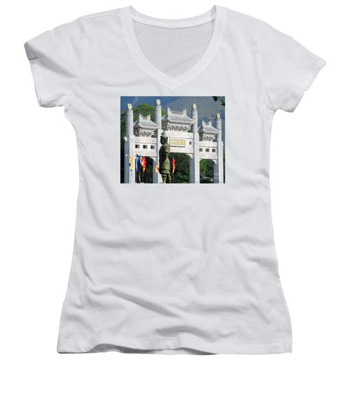 Women's V-Neck T-Shirt (Junior Cut) featuring the photograph Lantau Island 51 by Randall Weidner