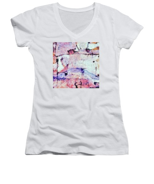 Women's V-Neck T-Shirt (Junior Cut) featuring the painting Laredo by Dominic Piperata