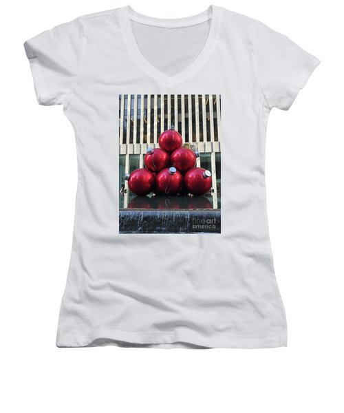 Large Red Ornaments Women's V-Neck