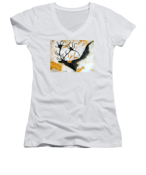 Lascaux Megaceros Deer 2 Women's V-Neck T-Shirt
