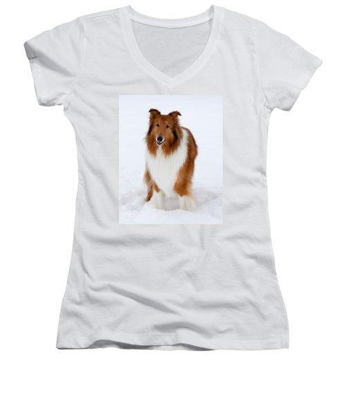 Lassie Enjoying The Snow Women's V-Neck T-Shirt