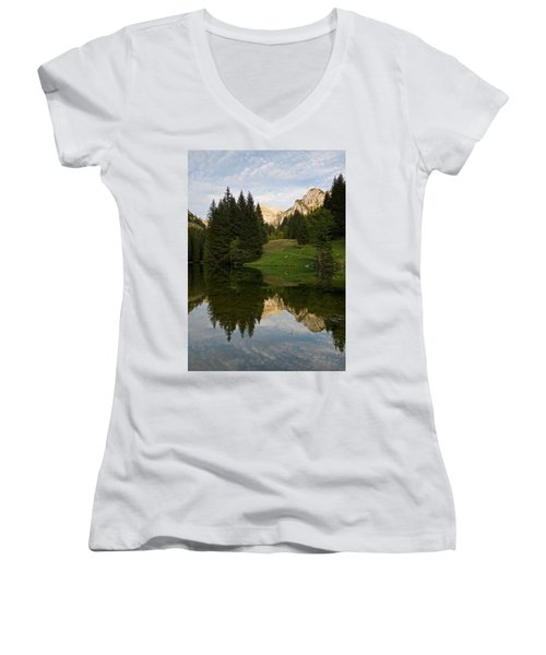 Last Light At Lac De Fontaine Women's V-Neck T-Shirt