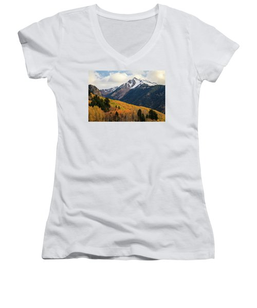 Women's V-Neck T-Shirt featuring the photograph Last Light Of Autumn by David Chandler