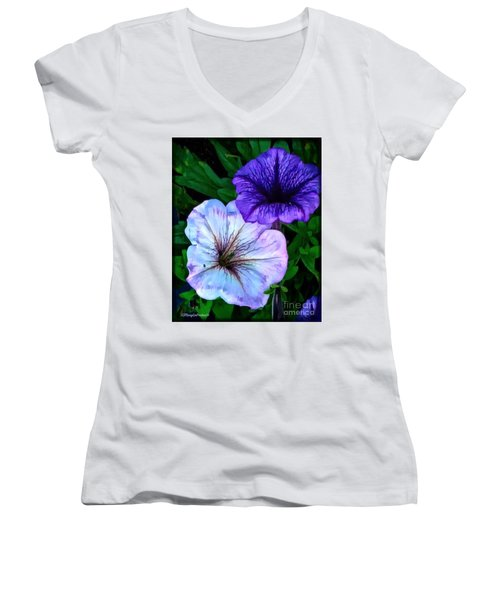 Last Of The Petunias   Women's V-Neck