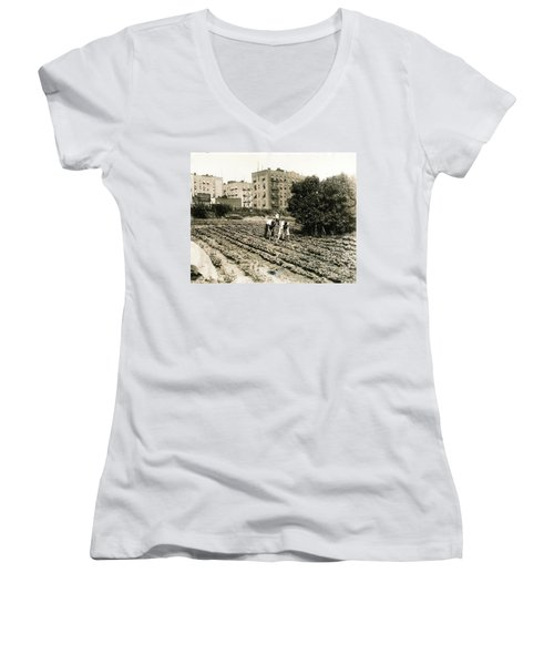 Last Working Farm In Manhattan Women's V-Neck T-Shirt (Junior Cut) by Cole Thompson