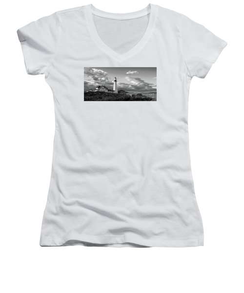 Late Afternoon Clouds, Portland Head Light  -98461 Women's V-Neck