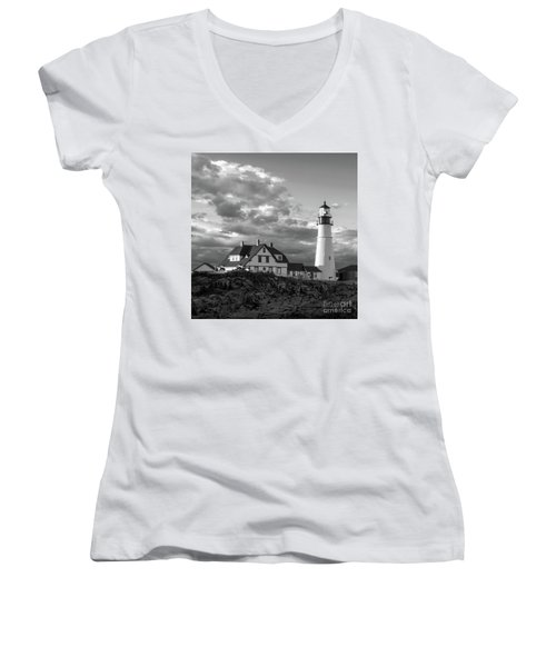 Women's V-Neck T-Shirt (Junior Cut) featuring the photograph Late Afternoon Clouds, Portland Head Light  -98461-sq by John Bald