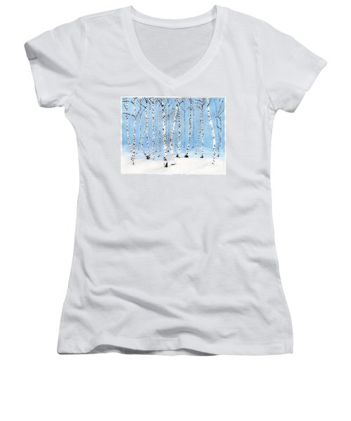 Late Afternoon Snowstorm In The Forest Women's V-Neck (Athletic Fit)