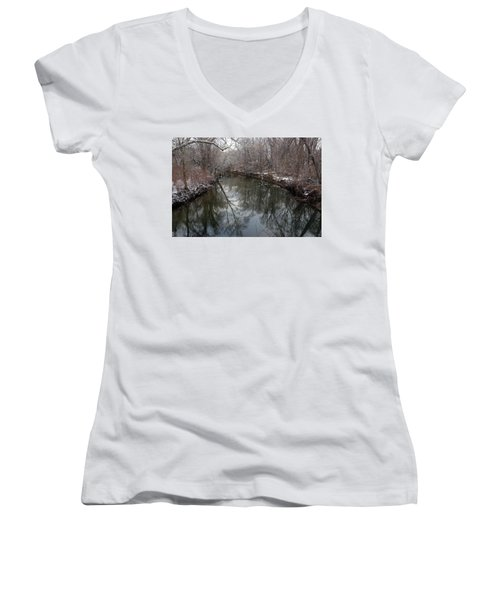 Late Winter In Philly Women's V-Neck T-Shirt (Junior Cut) by Dorin Adrian Berbier