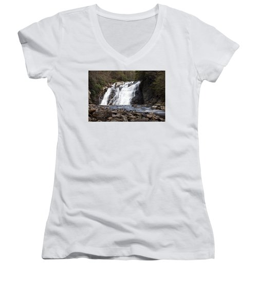 Laurel Falls In Spring #1 Women's V-Neck T-Shirt (Junior Cut) by Jeff Severson