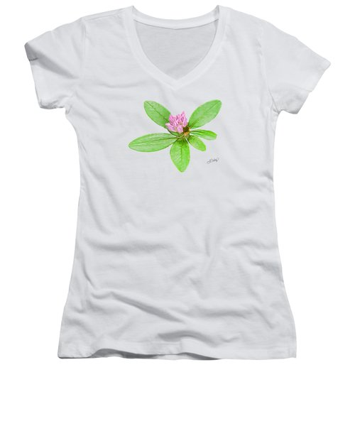 Laurel In Pink Women's V-Neck T-Shirt (Junior Cut) by Larry Bishop