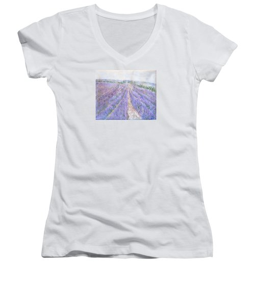 Lavender Fields Provence-france Women's V-Neck (Athletic Fit)