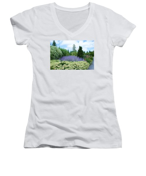 Women's V-Neck T-Shirt (Junior Cut) featuring the photograph Lavender In The Middle by Lois Lepisto