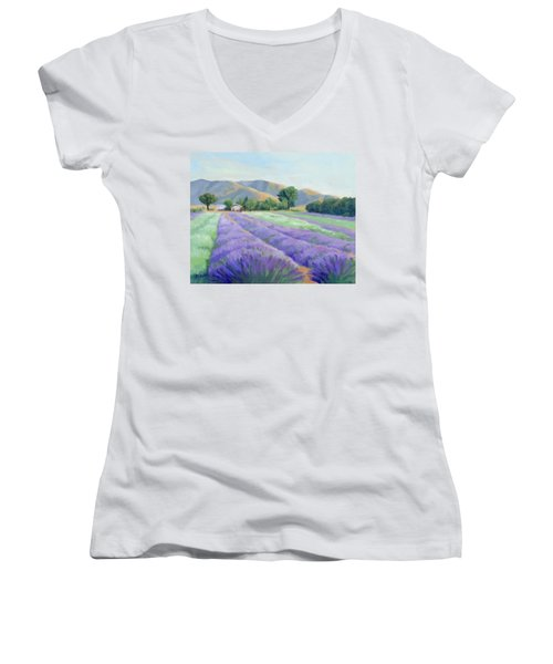 Women's V-Neck T-Shirt (Junior Cut) featuring the painting Lavender Lines by Sandy Fisher
