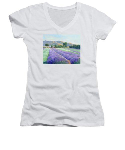 Lavender Lines Women's V-Neck T-Shirt (Junior Cut) by Sandy Fisher