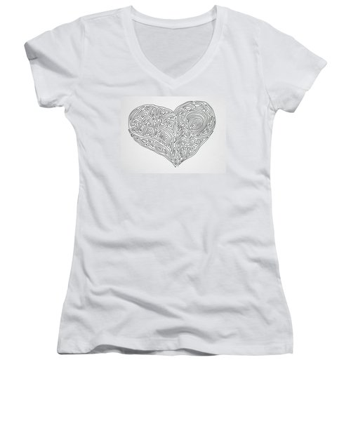 Laying Your Heart On A Line  Women's V-Neck T-Shirt (Junior Cut) by Vicki  Housel