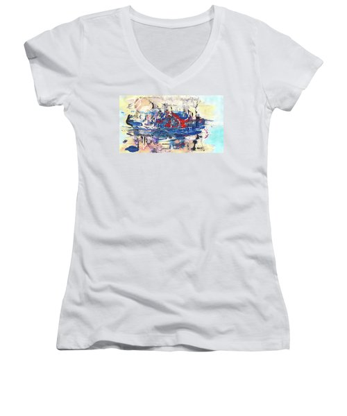 Laziness - Large Bright Pastel Abstract Art Women's V-Neck