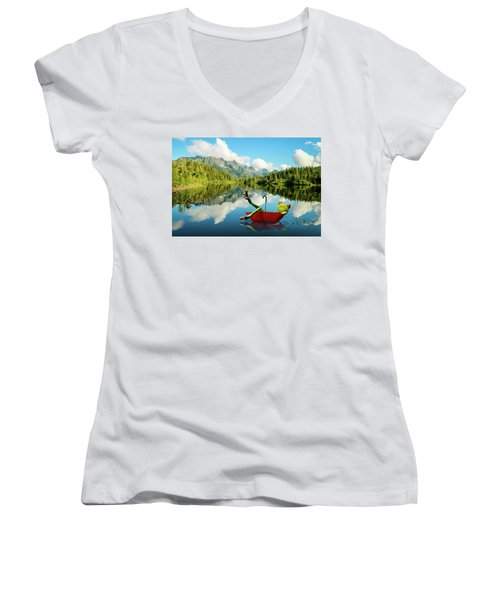 Women's V-Neck T-Shirt (Junior Cut) featuring the digital art Lazy Days by Nathan Wright