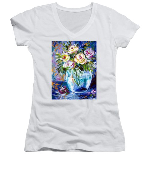 Women's V-Neck T-Shirt (Junior Cut) featuring the painting Le Rose Bianche by Roberto Gagliardi