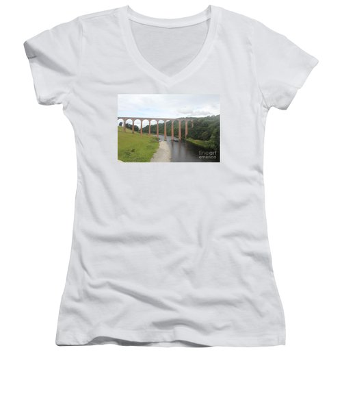 Leaderfoot Viaduct Women's V-Neck T-Shirt (Junior Cut) by David Grant