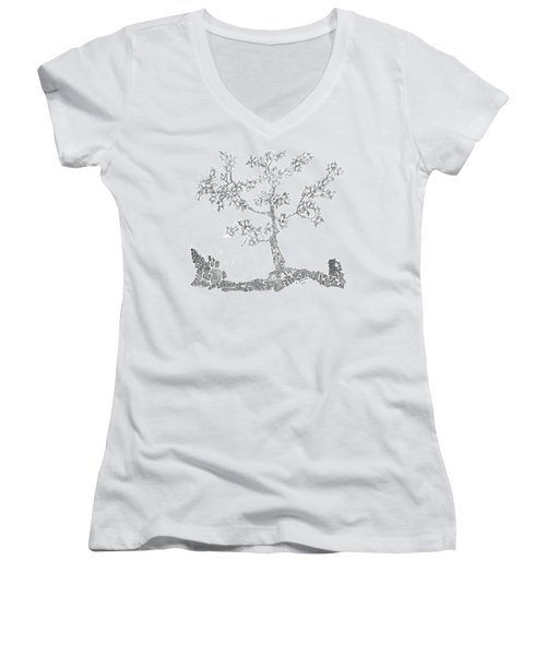 Leafy Jewels Women's V-Neck T-Shirt (Junior Cut) by Regina Valluzzi