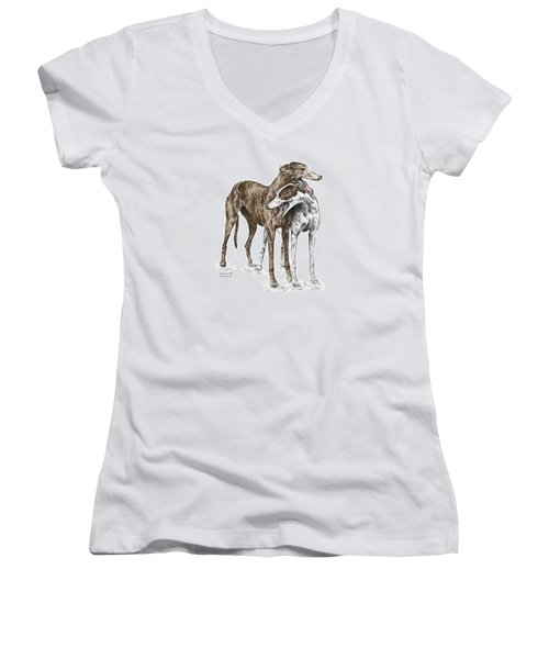 Lean On Me - Greyhound Dogs Print Color Tinted Women's V-Neck T-Shirt (Junior Cut) by Kelli Swan