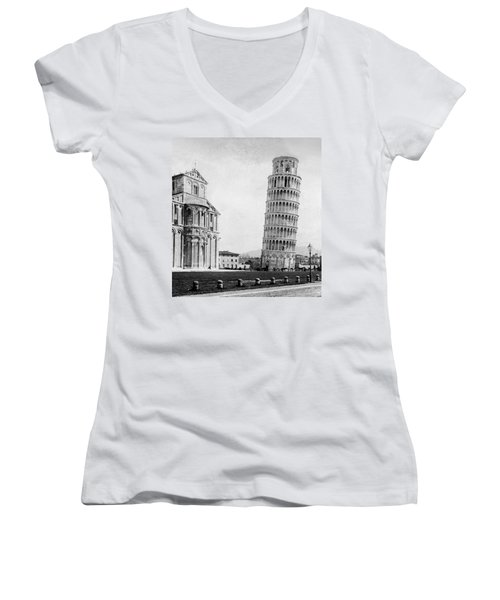 Leaning Tower Of Pisa Italy - C 1902  Women's V-Neck (Athletic Fit)
