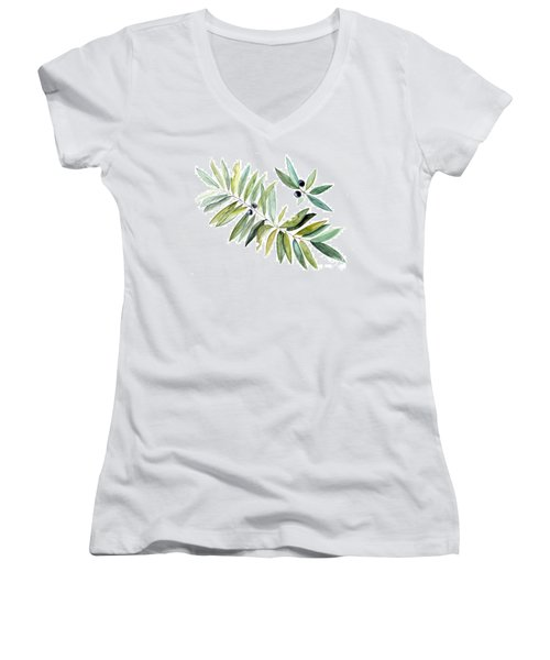 Leaves And Berries Women's V-Neck T-Shirt (Junior Cut) by Laurie Rohner