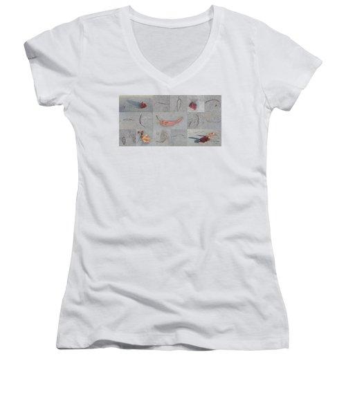 Leaves And Cracks Collage Women's V-Neck T-Shirt (Junior Cut) by Ben and Raisa Gertsberg