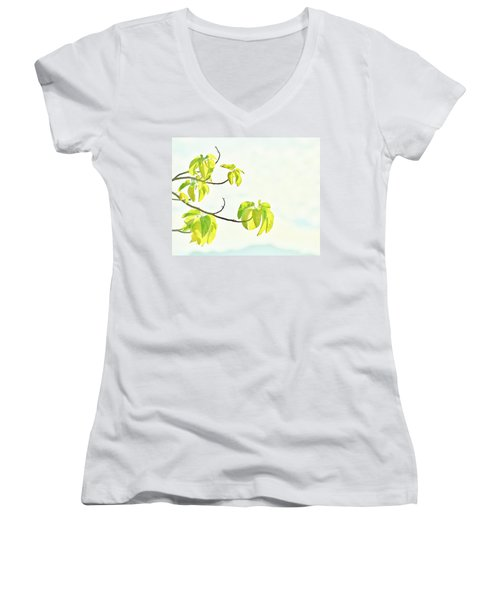 Leaves In The Sun Women's V-Neck T-Shirt (Junior Cut) by Craig Wood