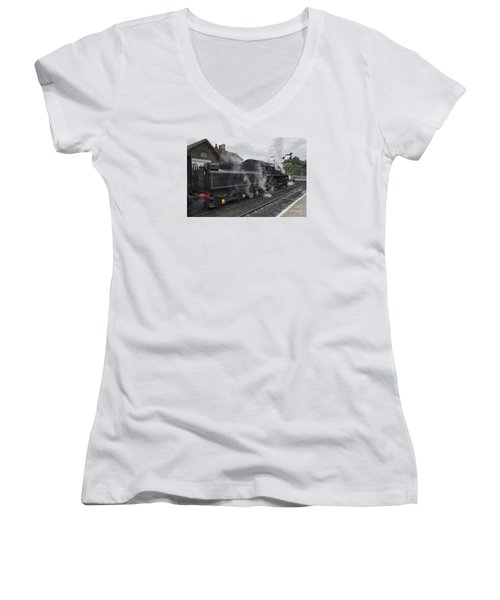 Leaving Grosmont Women's V-Neck T-Shirt (Junior Cut) by David  Hollingworth